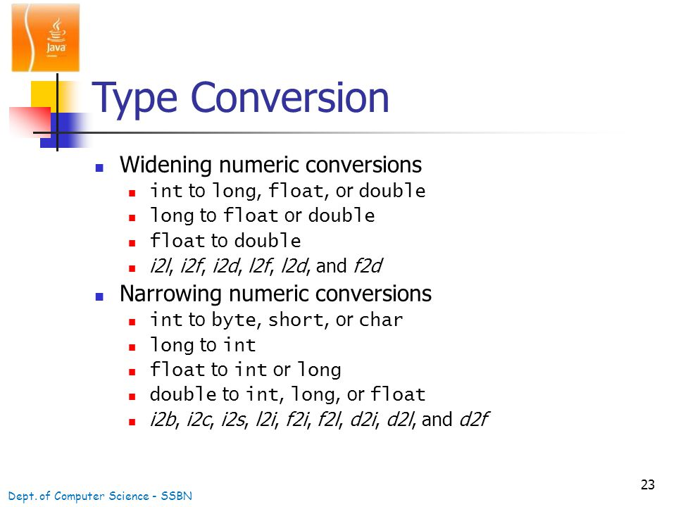 23 Type Conversion Widening numeric conversions int to long, float, or double long to float or double float to double i2l, i2f, i2d, l2f, l2d, and f2d Narrowing numeric conversions int to byte, short, or char long to int float to int or long double to int, long, or float i2b, i2c, i2s, l2i, f2i, f2l, d2i, d2l, and d2f Dept.