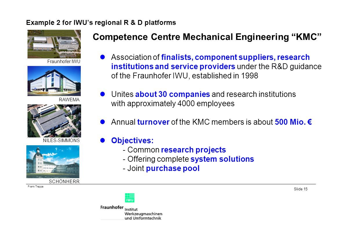 Frank Treppe Slide 15 Example 2 for IWUs regional R & D platforms Competence Centre Mechanical Engineering KMC Association of finalists, component suppliers, research institutions and service providers under the R&D guidance of the Fraunhofer IWU, established in 1998 Unites about 30 companies and research institutions with approximately 4000 employees Annual turnover of the KMC members is about 500 Mio.