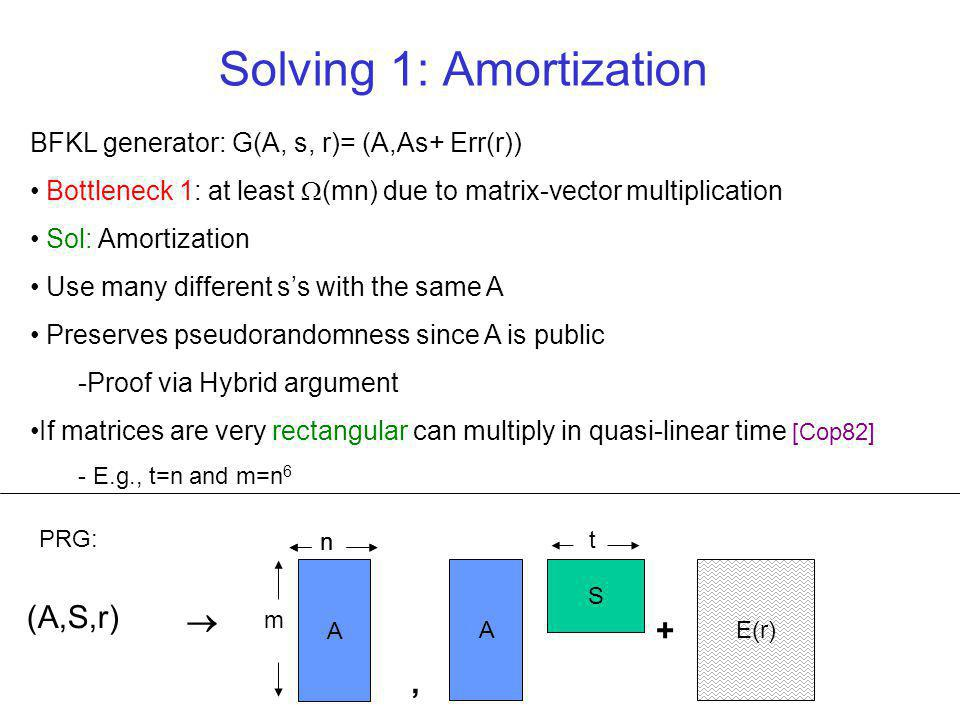 BFKL generator: G(A, s, r)= (A,As+ Err(r)) Bottleneck 1: at least (mn) due to matrix-vector multiplication Sol: Amortization Use many different ss with the same A Preserves pseudorandomness since A is public -Proof via Hybrid argument If matrices are very rectangular can multiply in quasi-linear time [Cop82] - E.g., t=n and m=n 6 Solving 1: Amortization A S E(r) + (A,S,r) A n m, PRG: n t