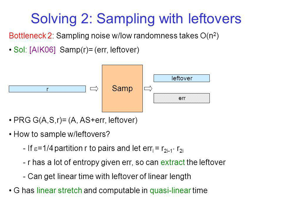 Bottleneck 2: Sampling noise w/low randomness takes O(n 2 ) Sol: [AIK06] Samp(r)= (err, leftover) PRG G(A,S,r)= (A, AS+err, leftover) How to sample w/leftovers.