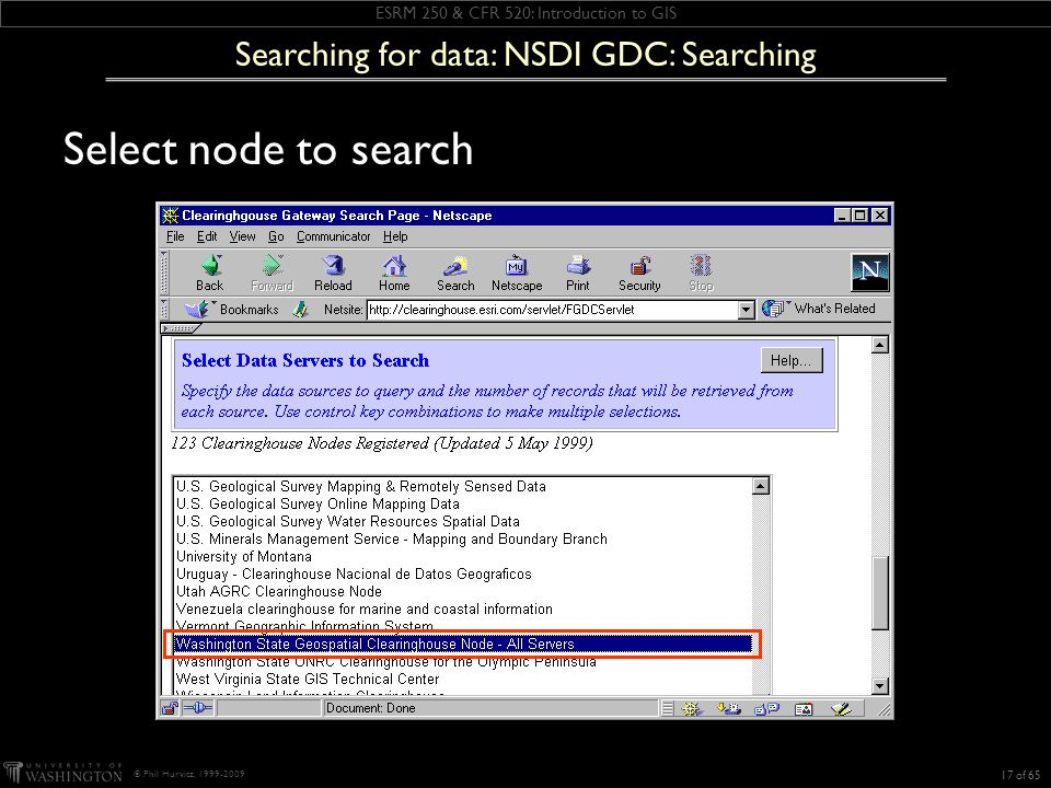 ESRM 250 & CFR 520: Introduction to GIS © Phil Hurvitz, 1999-2009 Select node to search 17 of 65 Searching for data: NSDI GDC: Searching