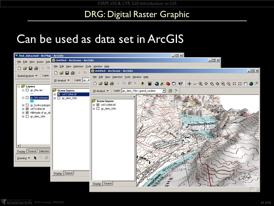 ESRM 250 & CFR 520: Introduction to GIS © Phil Hurvitz, 1999-2009 Can be used as data set in ArcGIS 65 of 65 DRG: Digital Raster Graphic