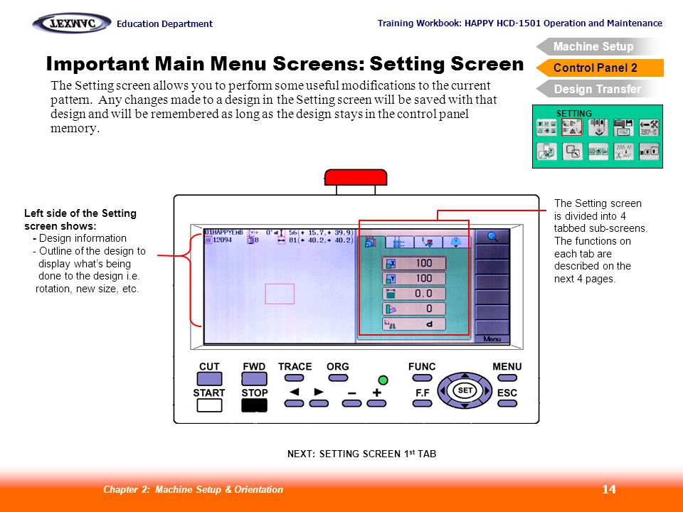 Training Workbook: HAPPY HCD-1501 Operation and Maintenance Education Department Machine Setup Control Panel 2 Design Transfer Chapter 2: Machine Setup & Orientation 14 Control Panel 2 Important Main Menu Screens: Setting Screen SETTING The Setting screen allows you to perform some useful modifications to the current pattern.