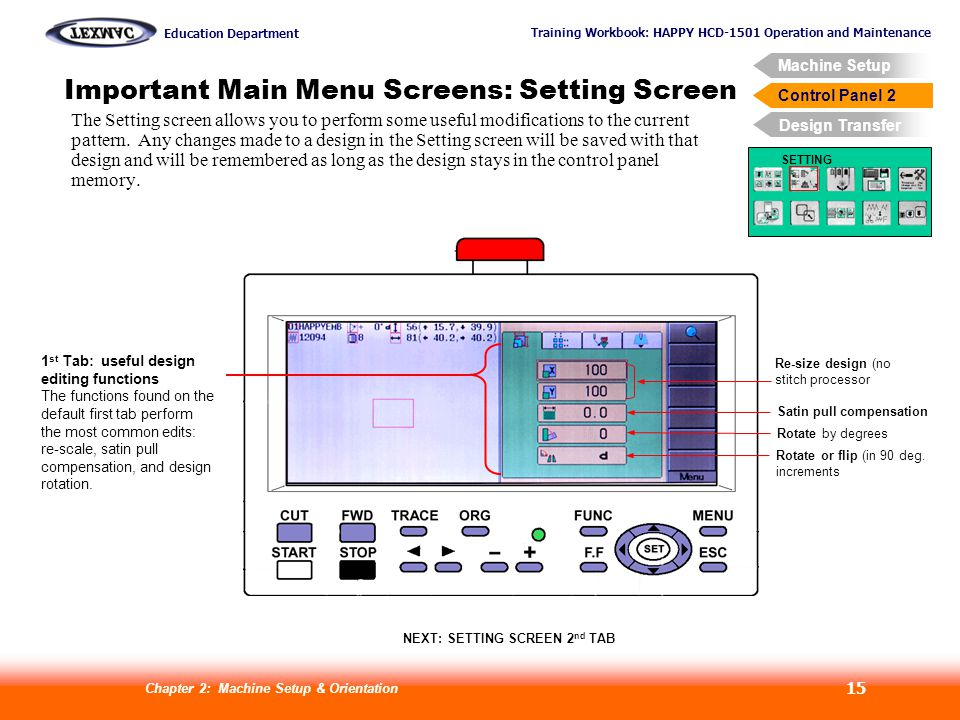 Training Workbook: HAPPY HCD-1501 Operation and Maintenance Education Department Machine Setup Control Panel 2 Design Transfer Chapter 2: Machine Setup & Orientation 15 Control Panel 2 Important Main Menu Screens: Setting Screen SETTING The Setting screen allows you to perform some useful modifications to the current pattern.