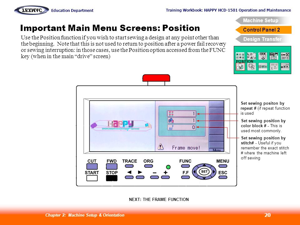 Training Workbook: HAPPY HCD-1501 Operation and Maintenance Education Department Machine Setup Control Panel 2 Design Transfer Chapter 2: Machine Setup & Orientation 20 Control Panel 2 Important Main Menu Screens: Position POSITION Set sewing positon by repeat # (if repeat function is used Set sewing position by color block # - This is used most commonly.