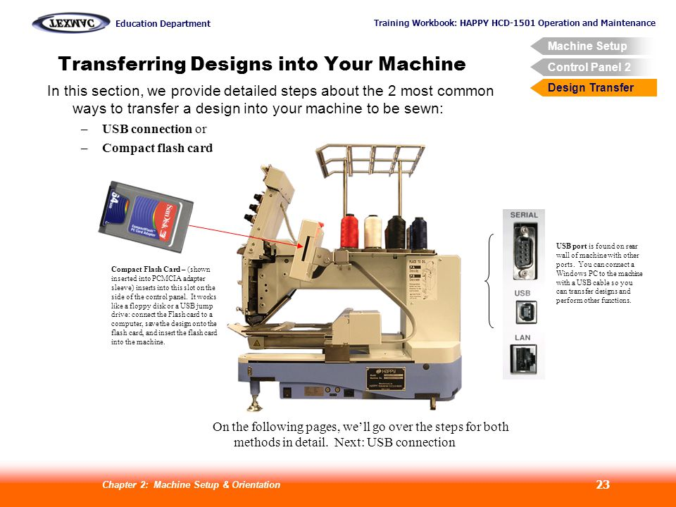 Training Workbook: HAPPY HCD-1501 Operation and Maintenance Education Department Machine Setup Control Panel 2 Design Transfer Chapter 2: Machine Setup & Orientation 23 Transferring Designs into Your Machine USB port is found on rear wall of machine with other ports.