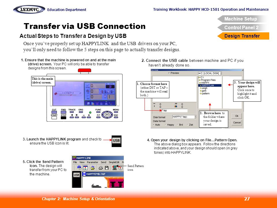 Training Workbook: HAPPY HCD-1501 Operation and Maintenance Education Department Machine Setup Control Panel 2 Design Transfer Chapter 2: Machine Setup & Orientation 27 Transfer via USB Connection Design Transfer Actual Steps to Transfer a Design by USB Once youve properly set up HAPPYLINK and the USB drivers on your PC, youll only need to follow the 5 steps on this page to actually transfer designs.