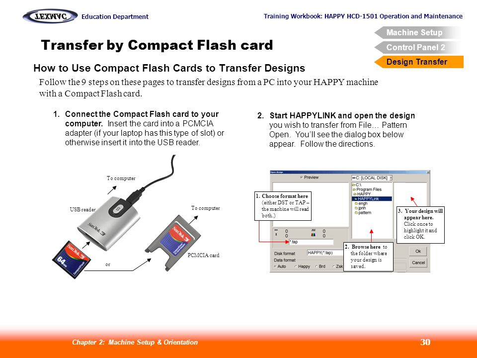 Training Workbook: HAPPY HCD-1501 Operation and Maintenance Education Department Machine Setup Control Panel 2 Design Transfer Chapter 2: Machine Setup & Orientation 30 Transfer by Compact Flash card Design Transfer How to Use Compact Flash Cards to Transfer Designs Follow the 9 steps on these pages to transfer designs from a PC into your HAPPY machine with a Compact Flash card.