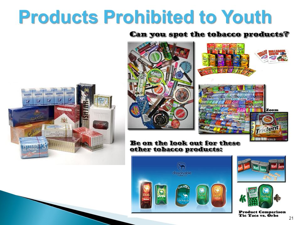 21 Products Prohibited to Youth