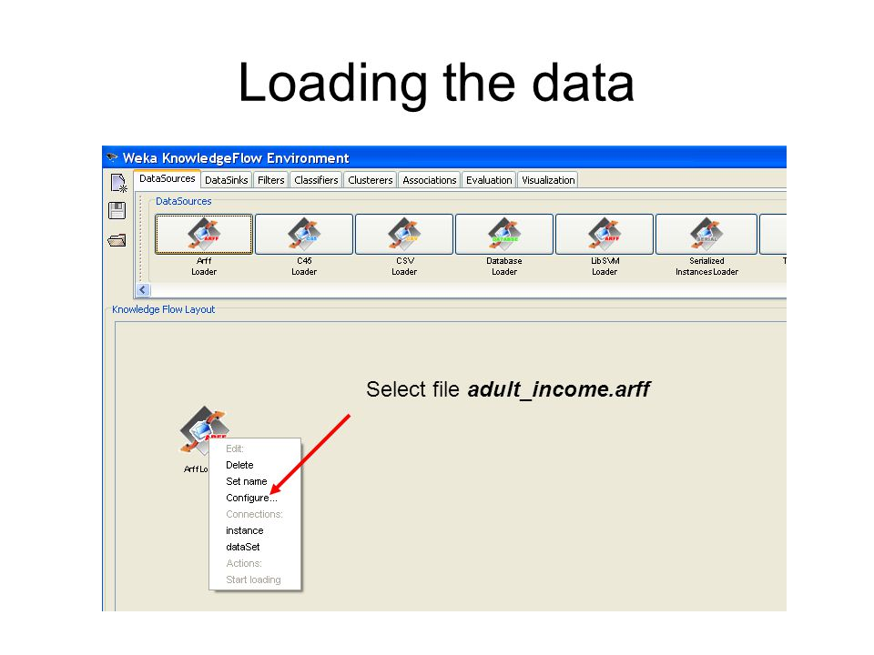 Loading the data Select file adult_income.arff