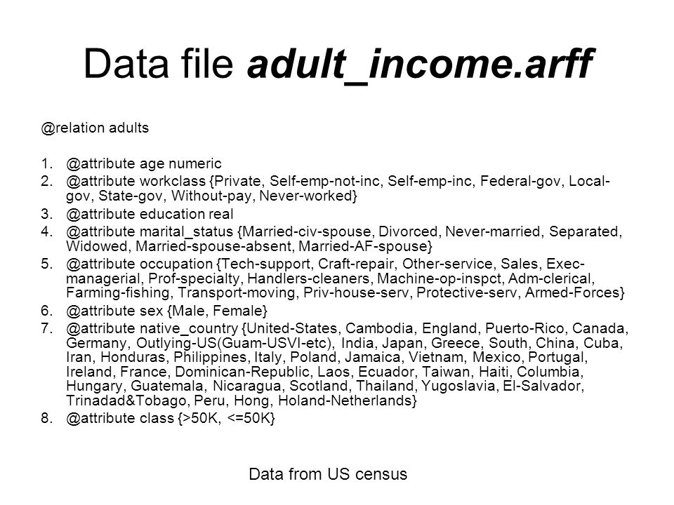 Data file adult_income.arff @relation adults 1.@attribute age numeric 2.@attribute workclass {Private, Self-emp-not-inc, Self-emp-inc, Federal-gov, Local- gov, State-gov, Without-pay, Never-worked} 3.@attribute education real 4.@attribute marital_status {Married-civ-spouse, Divorced, Never-married, Separated, Widowed, Married-spouse-absent, Married-AF-spouse} 5.@attribute occupation {Tech-support, Craft-repair, Other-service, Sales, Exec- managerial, Prof-specialty, Handlers-cleaners, Machine-op-inspct, Adm-clerical, Farming-fishing, Transport-moving, Priv-house-serv, Protective-serv, Armed-Forces} 6.@attribute sex {Male, Female} 7.@attribute native_country {United-States, Cambodia, England, Puerto-Rico, Canada, Germany, Outlying-US(Guam-USVI-etc), India, Japan, Greece, South, China, Cuba, Iran, Honduras, Philippines, Italy, Poland, Jamaica, Vietnam, Mexico, Portugal, Ireland, France, Dominican-Republic, Laos, Ecuador, Taiwan, Haiti, Columbia, Hungary, Guatemala, Nicaragua, Scotland, Thailand, Yugoslavia, El-Salvador, Trinadad&Tobago, Peru, Hong, Holand-Netherlands} 8.@attribute class {>50K, <=50K} Data from US census