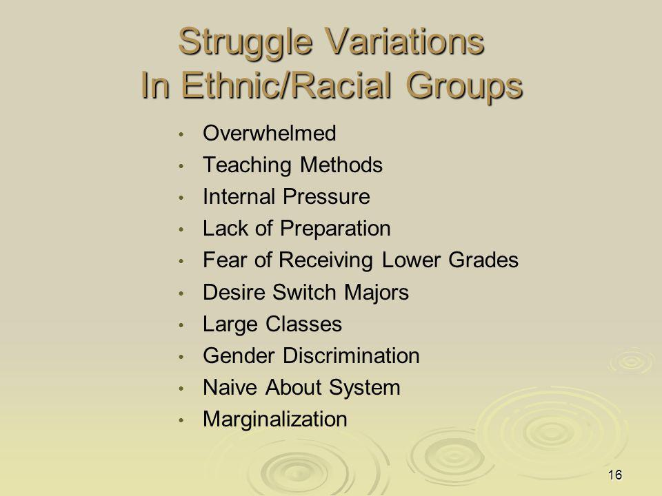 16 Struggle Variations In Ethnic/Racial Groups Overwhelmed Teaching Methods Internal Pressure Lack of Preparation Fear of Receiving Lower Grades Desire Switch Majors Large Classes Gender Discrimination Naive About System Marginalization