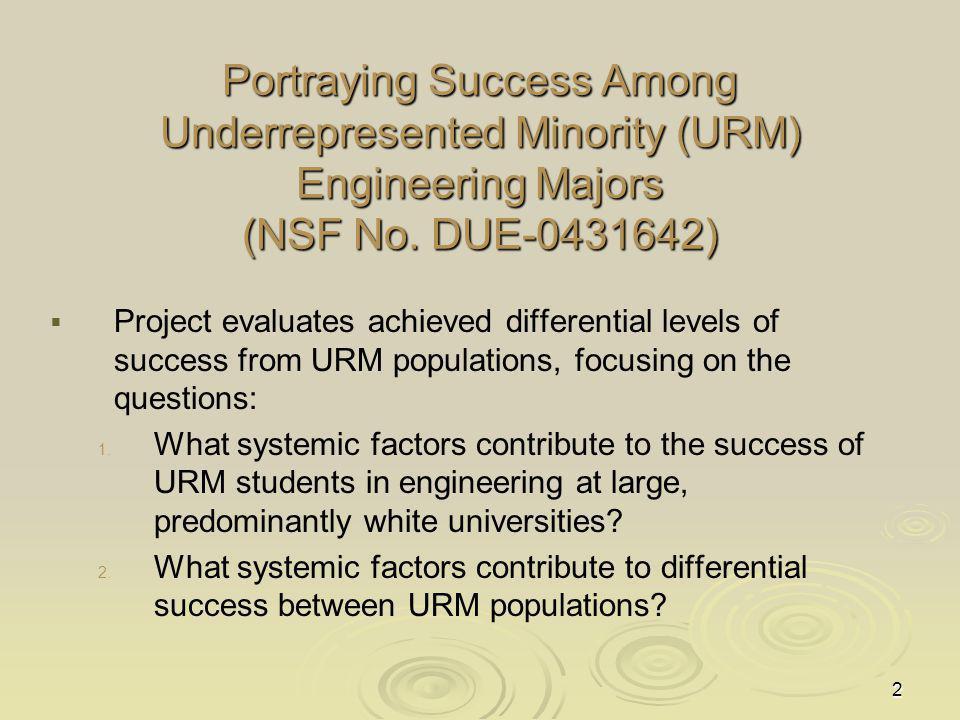 2 Portraying Success Among Underrepresented Minority (URM) Engineering Majors (NSF No.