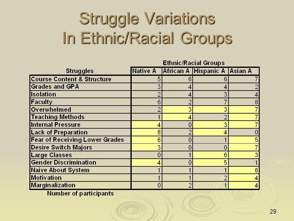 29 Struggle Variations In Ethnic/Racial Groups