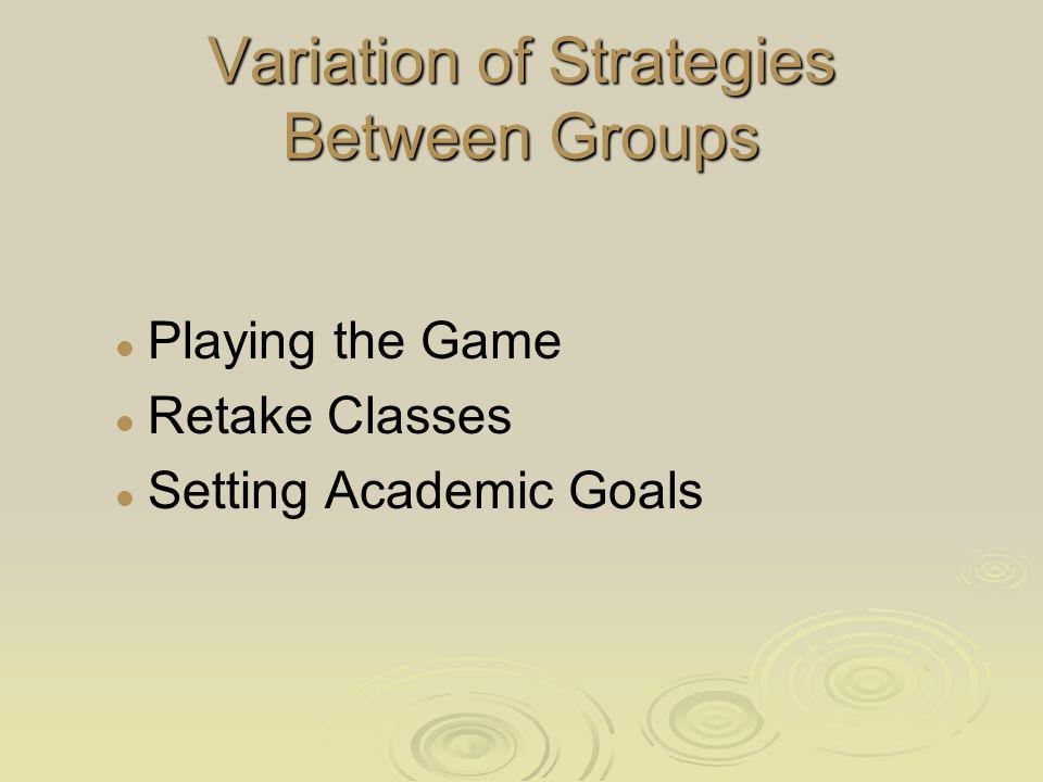 Variation of Strategies Between Groups Playing the Game Retake Classes Setting Academic Goals