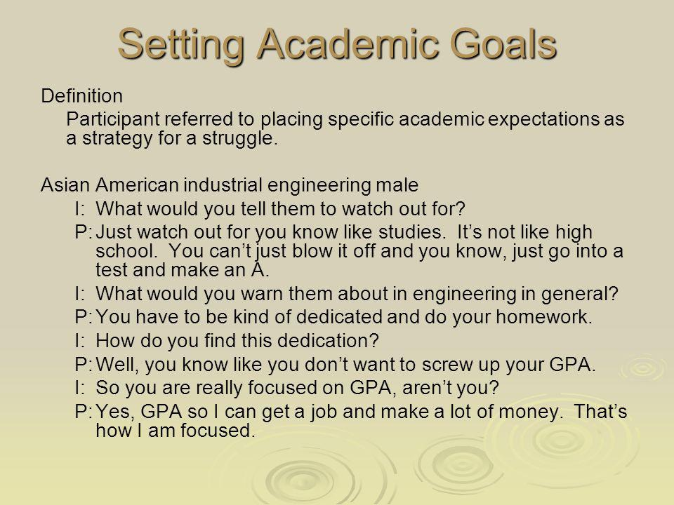 Setting Academic Goals Definition Participant referred to placing specific academic expectations as a strategy for a struggle.