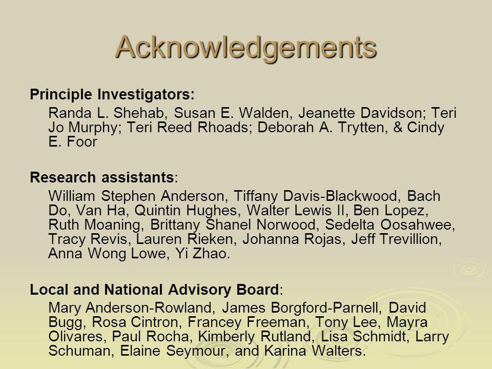 Acknowledgements Principle Investigators: Randa L.