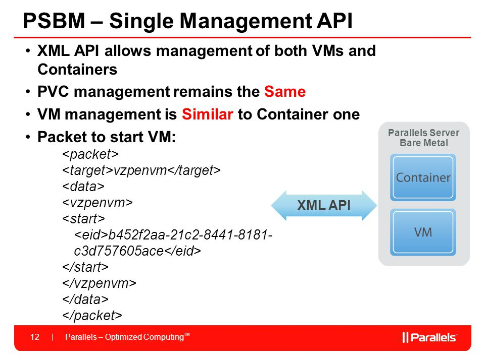 Parallels – Optimized Computing TM 12 PSBM – Single Management API XML API allows management of both VMs and Containers PVC management remains the Sam
