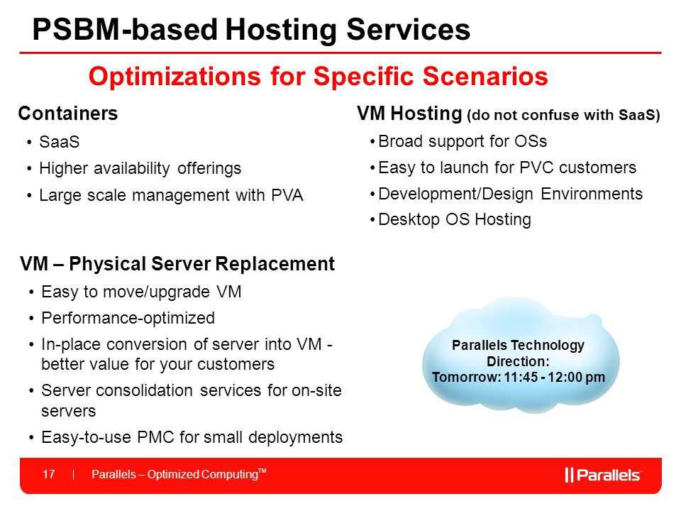 Parallels – Optimized Computing TM 17 PSBM-based Hosting Services VM – Physical Server Replacement Easy to move/upgrade VM Performance-optimized In-pl