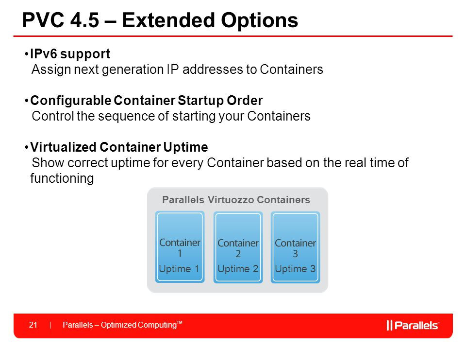 Parallels – Optimized Computing TM 21 PVC 4.5 – Extended Options IPv6 support Assign next generation IP addresses to Containers Configurable Container
