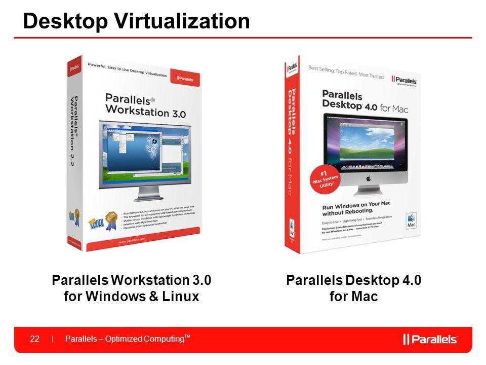 Parallels – Optimized Computing TM 22 Desktop Virtualization Parallels Desktop 4.0 for Mac Parallels Workstation 3.0 for Windows & Linux