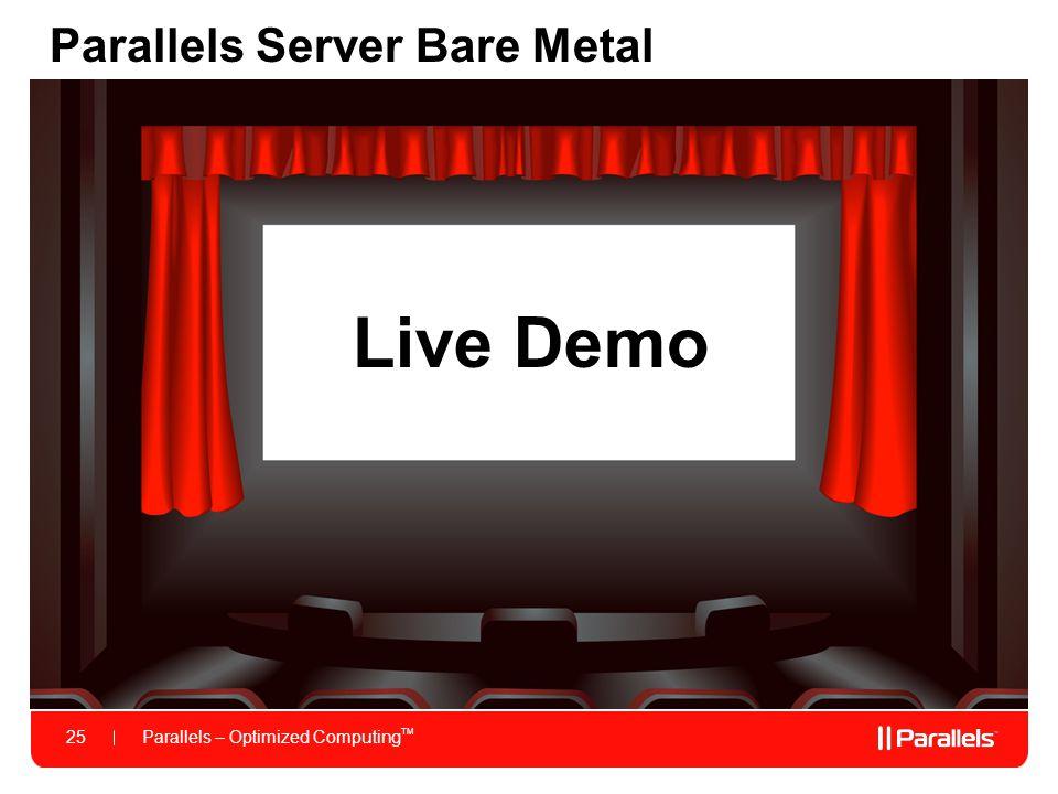 Parallels – Optimized Computing TM 25 Parallels Server Bare Metal Live Demo