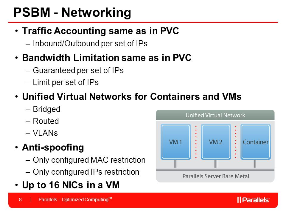 Parallels – Optimized Computing TM 8 PSBM - Networking Traffic Accounting same as in PVC –Inbound/Outbound per set of IPs Bandwidth Limitation same as