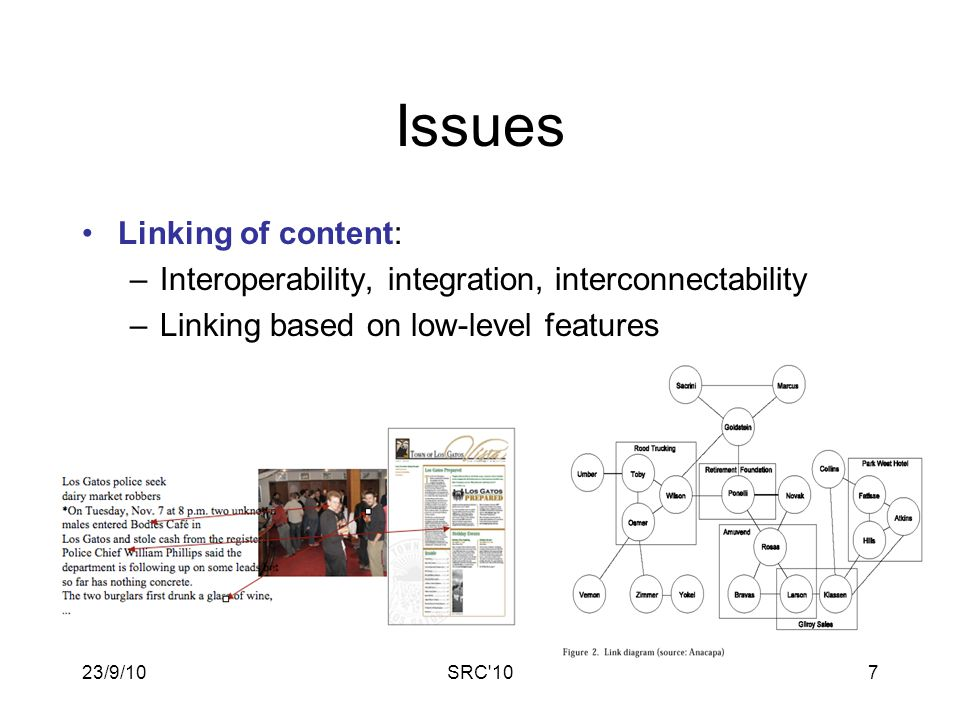 23/9/10SRC 107 Issues Linking of content: –Interoperability, integration, interconnectability –Linking based on low-level features
