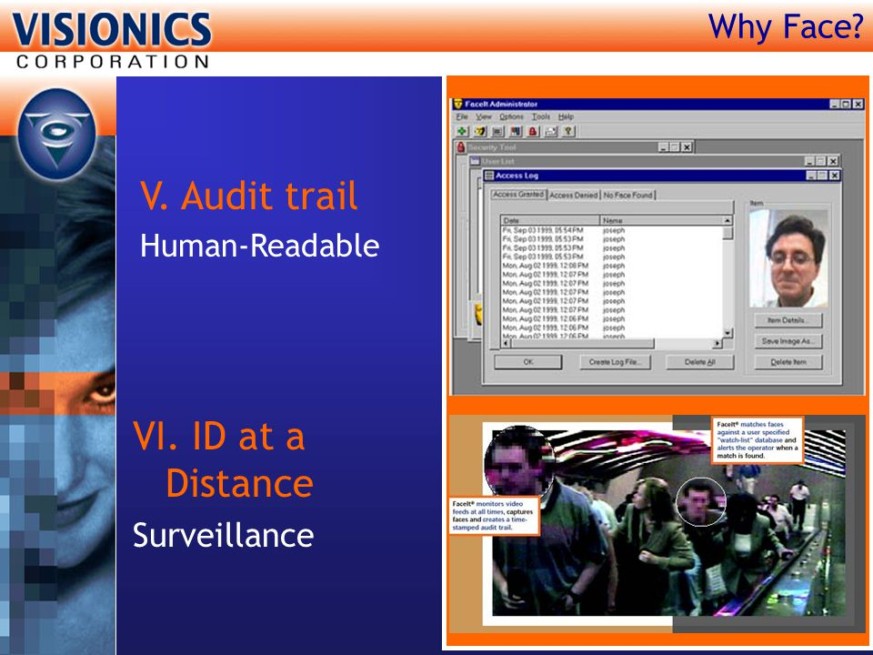 Why Face? V. Audit trail Human-Readable VI. ID at a Distance Surveillance