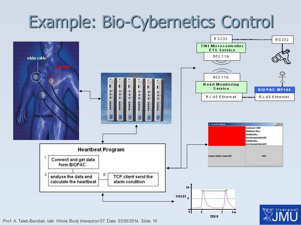 Prof. A. Taleb-Bendiab, talk: Whole Body Interaction07, Date: 03/06/2014, Slide: 10 Example: Bio-Cybernetics Control
