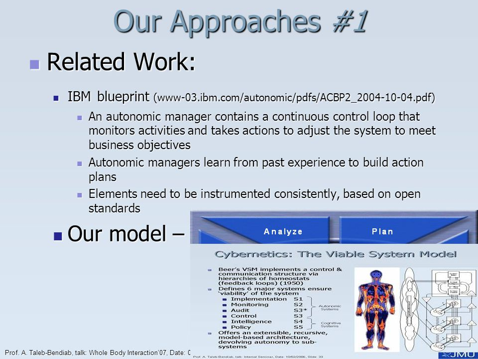 Prof. A. Taleb-Bendiab, talk: Whole Body Interaction07, Date: 03/06/2014, Slide: 18 Our Approaches #1 Related Work: Related Work: IBM blueprint (www-0