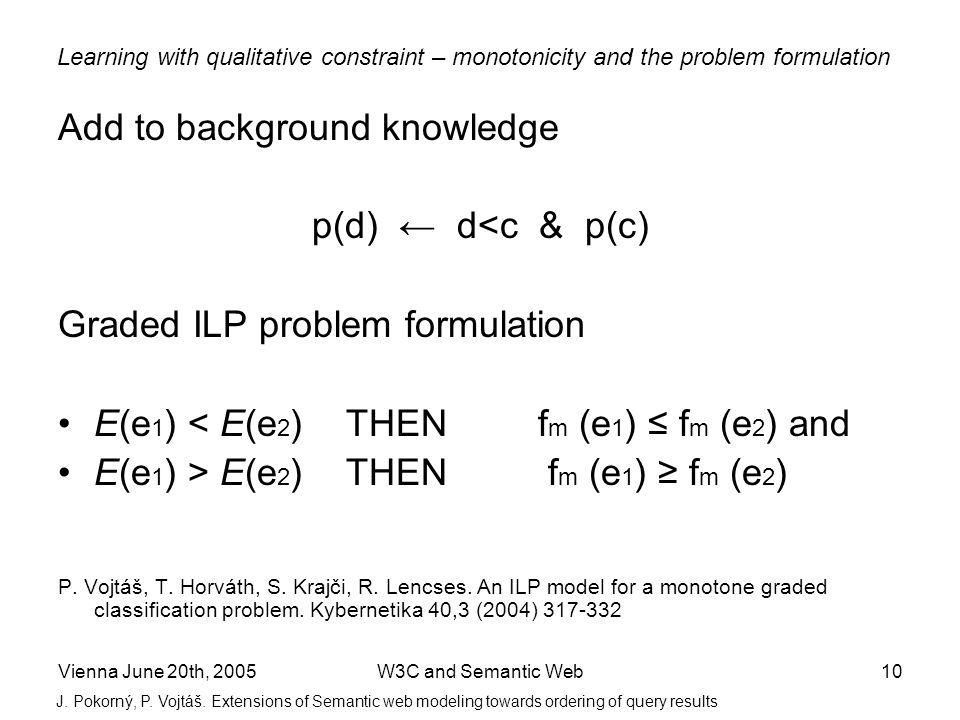 Vienna June 20th, 2005W3C and Semantic Web10 Add to background knowledge p(d) d<c & p(c) Graded ILP problem formulation E(e 1 ) < E(e 2 ) THEN f m (e 1 ) f m (e 2 ) and E(e 1 ) > E(e 2 ) THEN f m (e 1 ) f m (e 2 ) P.
