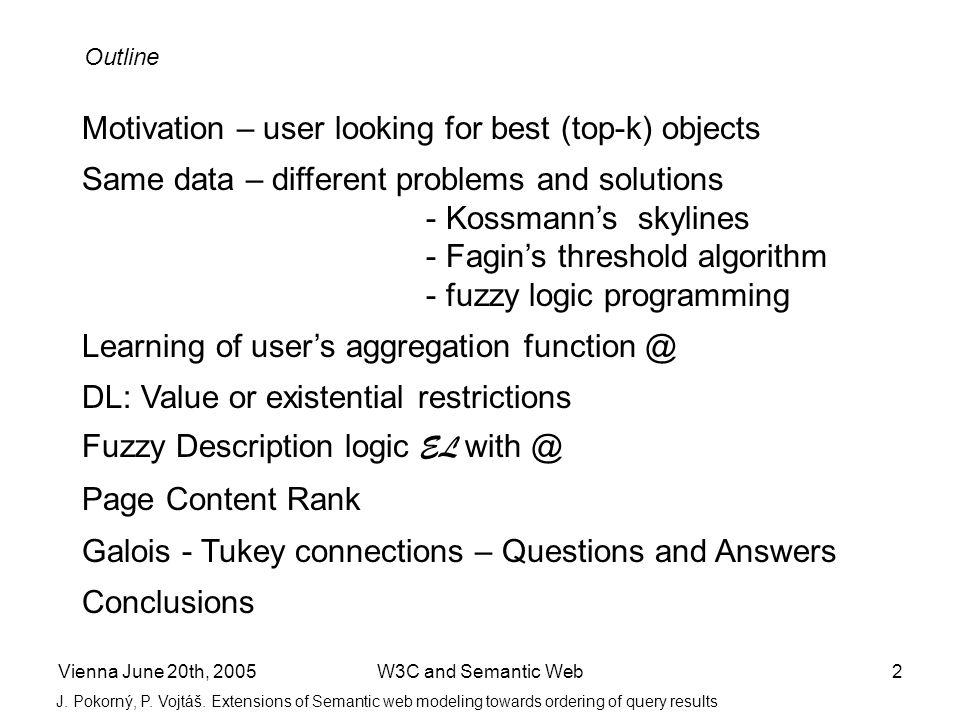 Vienna June 20th, 2005W3C and Semantic Web13 J.Pokorný, P.