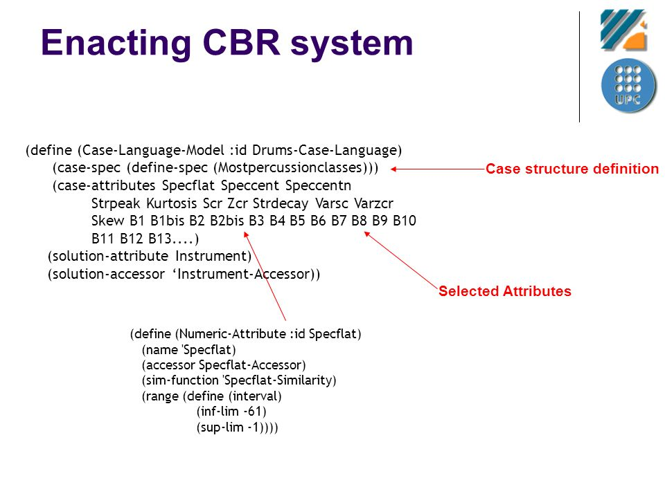 Enacting CBR system (define (Case-Language-Model :id Drums-Case-Language) (case-spec (define-spec (Mostpercussionclasses))) (case-attributes Specflat