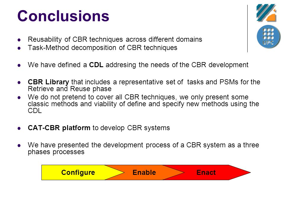 Conclusions Reusability of CBR techniques across different domains Task-Method decomposition of CBR techniques We have defined a CDL addresing the nee