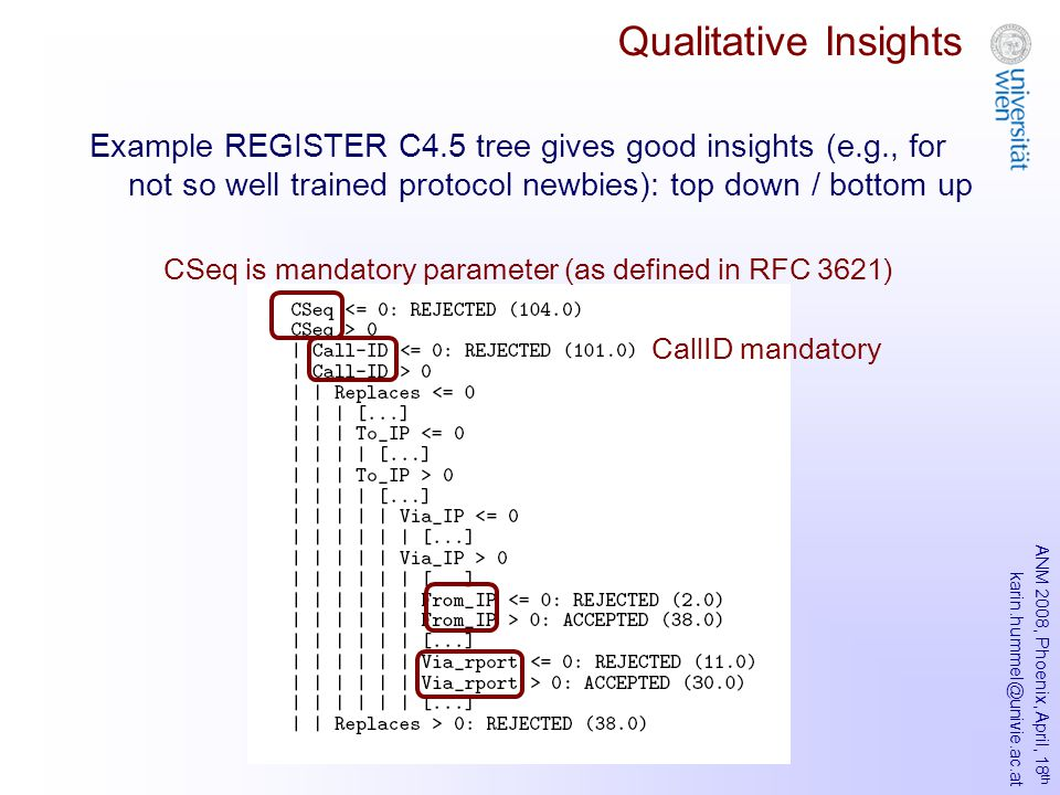 ANM 2008, Phoenix, April, 18 th karin.hummel@univie.ac.at Qualitative Insights Example REGISTER C4.5 tree gives good insights (e.g., for not so well trained protocol newbies): top down / bottom up CSeq is mandatory parameter (as defined in RFC 3621) CallID mandatory