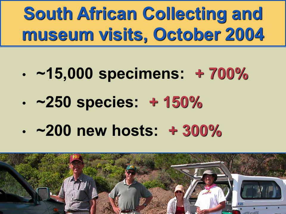 South African Collecting and museum visits, October 2004 + 700% ~15,000 specimens: + 700% + 150% ~250 species: + 150% + 300% ~200 new hosts: + 300%