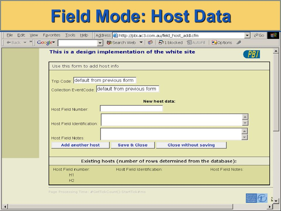 Field Mode: Host Data