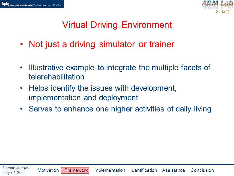 Slide 11 Motivation Framework Implementation Identification Assistance Conclusion Chetan Jadhav July 7 th, 2004 Virtual Driving Environment Not just a driving simulator or trainer Illustrative example to integrate the multiple facets of telerehabilitation Helps identify the issues with development, implementation and deployment Serves to enhance one higher activities of daily living