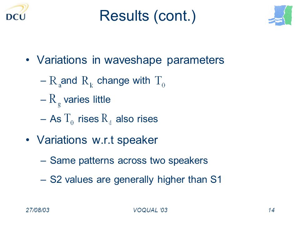 27/08/03VOQUAL 0314 Results (cont.) Variations in waveshape parameters – and change with – varies little –As rises also rises Variations w.r.t speaker –Same patterns across two speakers –S2 values are generally higher than S1