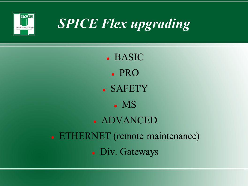 SPICE Flex upgrading BASIC PRO SAFETY MS ADVANCED ETHERNET (remote maintenance) Div. Gateways