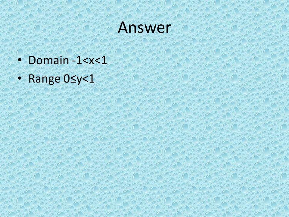 Answer Domain -1<x<1 Range 0y<1
