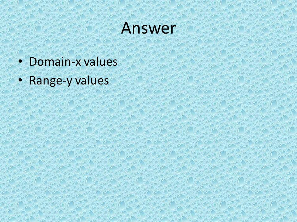 Answer Domain-x values Range-y values