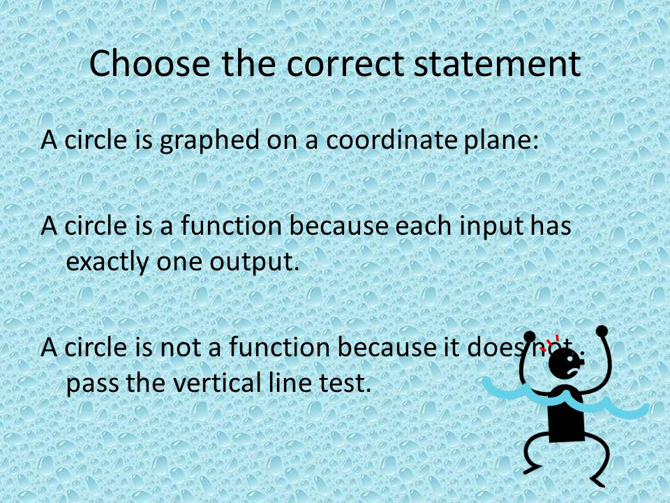 Choose the correct statement A circle is graphed on a coordinate plane: A circle is a function because each input has exactly one output. A circle is