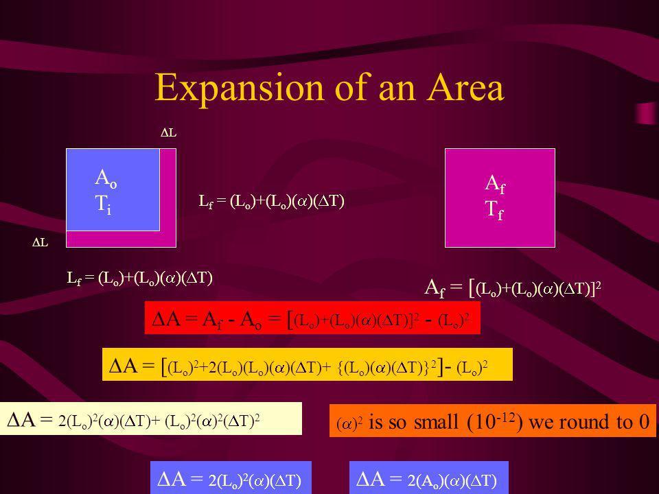 L f = (L o )+(L o )( )( T) L L Expansion of an Area A = A f - A o = [ (L o )+(L o )( )( T)] 2 - (L o ) 2 A = [ (L o ) 2 +2(L o )(L o )( )( T)+ {(L o )( )( T)} 2 ]- (L o ) 2 A = 2(L o ) 2 ( )( T)+ (L o ) 2 ( ) 2 ( T) 2 ( ) 2 is so small (10 -12 ) we round to 0 A = 2(L o ) 2 ( )( T) A = 2(A o )( )( T) AoTiAoTi AfTfAfTf A f = [ (L o )+(L o )( )( T)] 2