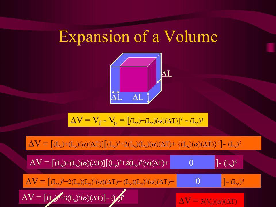 Expansion of a Volume L L L V = V f - V o = [ (L o )+(L o )( )( T)] 3 - (L o ) 3 V = [ (L o )+(L o )( )( T)] [ (L o ) 2 +2(L o )(L o )( )( T)+ {(L o )( )( T)} 2 ]- (L o ) 3 V = [ (L o )+(L o )( )( T)] [ (L o ) 2 +2(L o ) 2 ( )( T)+ (L o ) 2 ( ) 2 ( T) 2 ]- (L o ) 3 V = [ (L o ) 3 +2(L o )(L o ) 2 ( )( T)+ (L o )(L o ) 2 ( )( T)+ {(L o ) 3 ( ) 2 ( T) 2 } ]- (L o ) 3 V = [ (L o ) 3 +3(L o ) 3 ( )( T) ]- (L o ) 3 V = 3(V o )( )( T) 0 0