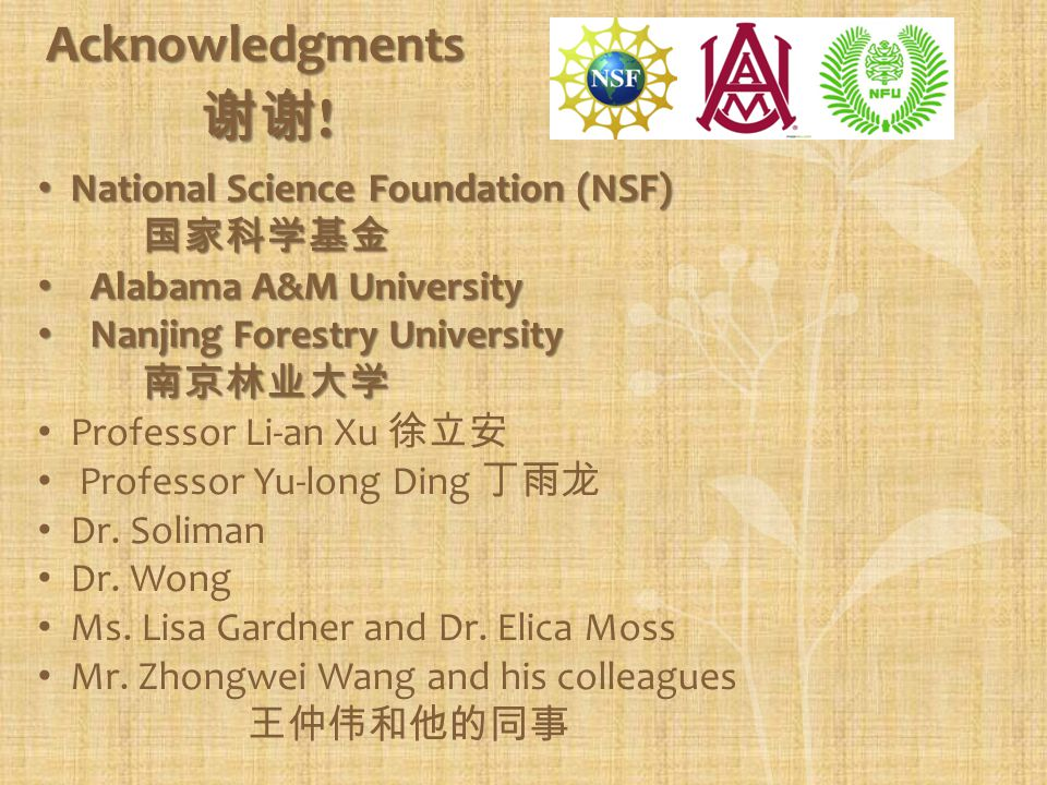 Acknowledgments National Science Foundation (NSF) National Science Foundation (NSF) Alabama A&M University Alabama A&M University Nanjing Forestry Uni