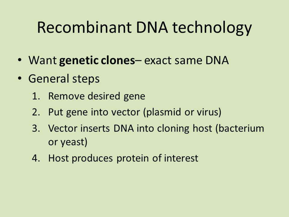 Recombinant DNA technology Want genetic clones– exact same DNA General steps 1.Remove desired gene 2.Put gene into vector (plasmid or virus) 3.Vector