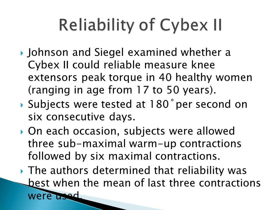 Johnson and Siegel examined whether a Cybex II could reliable measure knee extensors peak torque in 40 healthy women (ranging in age from 17 to 50 years).