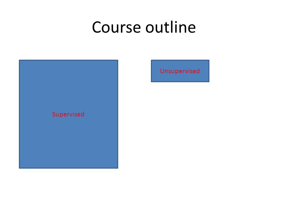 Course outline Supervised Unsupervised